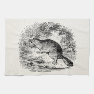 Vintage Duck Billed Platypus Personalized Animals Tea Towel