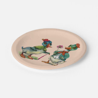 Vintage Ducks Spring Couple 7 Inch Paper Plate