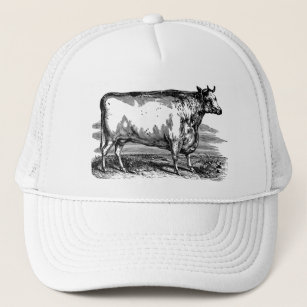 5c4241a6267 Vintage Durham Cow Bull Personalized Illustration Trucker Hat