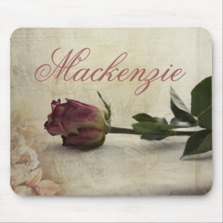 Vintage Dusky Romantic Pink Rose Flower Lace Mouse Mat