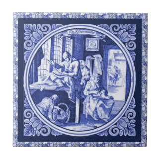 Vintage Dutch Blue Delft tile design