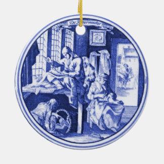 Vintage Dutch Blue Delft tile design Christmas Ornament