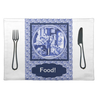 Vintage Dutch Blue Delft tile design Placemat