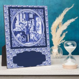 Vintage Dutch Blue Delft tile design Plaque