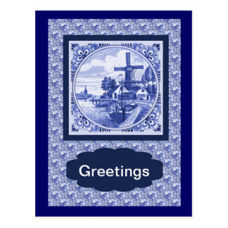 Vintage Dutch Blue Delft tile design Postcard
