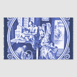 Vintage Dutch Blue Delft tile design Rectangular Sticker