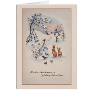 Vintage Dutch Christmas and New Year Card