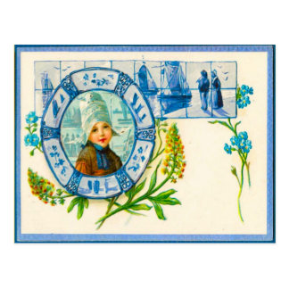 Vintage Dutch costulme and blue Delft tiles Postcard