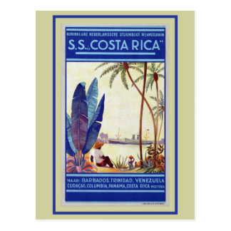 Vintage Dutch cruise shipping line Costa Rica Postcard