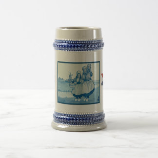 Vintage Dutch design, 1905,Family by the windmill Beer Stein