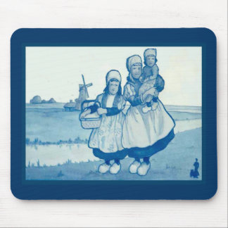 Vintage Dutch design, 1905,Family by the windmill Mouse Mat