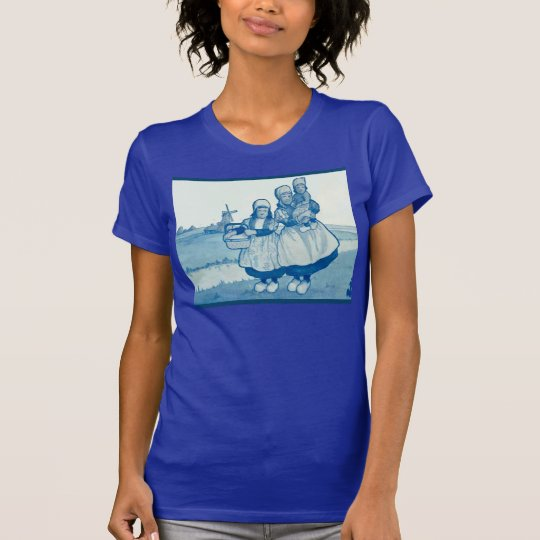 Vintage Dutch design, 1905, Family by windmill T-Shirt