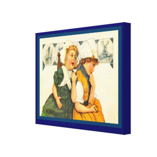 Vintage Dutch design, 1905, Girls,blue Delft tiles Canvas Print