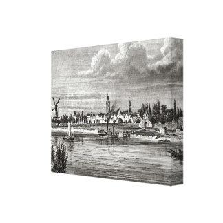 VIntage Dutch design, Schoonhaven, boats and town Canvas Print