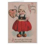 Vintage Dutch Girl Valentine's Day Greeting Card