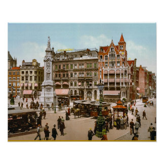 Vintage Dutch Image, Amsterdam trams Poster