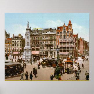 Vintage Dutch Image, Amsterdam trams Poster