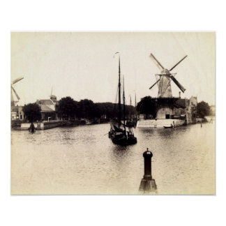Vintage Dutch Image, Schiedam windmill Poster