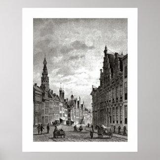 Vintage Dutch print  Leiden, main street