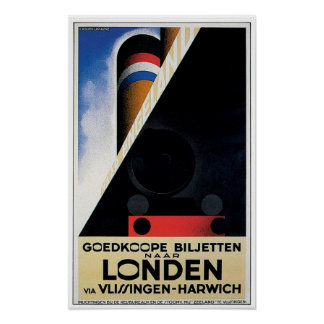 Vintage Dutch Rail Ferry Poster