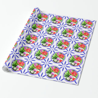 Vintage Dutch Tiles Delftware Tulips Holland Wrapping Paper