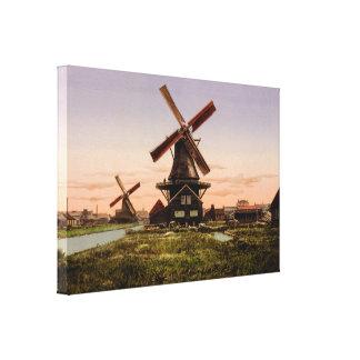 Vintage Dutch Windmills canvas print