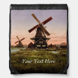 Vintage Dutch Windmills custom backpack