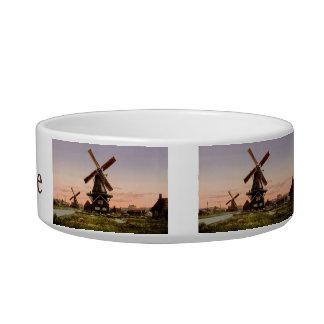 Vintage Dutch Windmills custom pet bowls