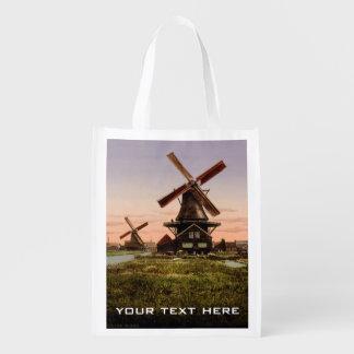 Vintage Dutch Windmills custom reusable bag