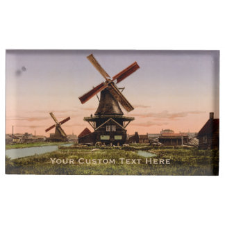 Vintage Dutch Windmills custom table card holder