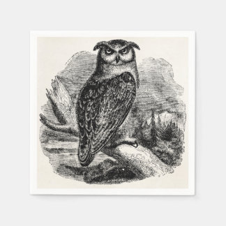 Vintage Eagle Owl Bird - Birds Template Blank Disposable Napkins