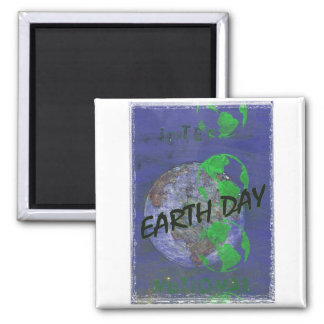 Vintage Earth Day Square Magnet