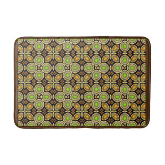 Vintage earth tone kaleidoscope bath mat