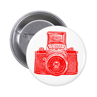 Vintage East German Camera - Red Pinback Buttons