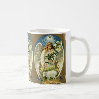 Vintage Easter Angel, Lamb, Lily Flower, Gold Star Basic White Mug