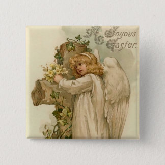 Vintage Easter Angel Square Button