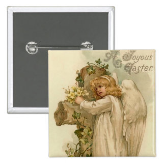 Vintage Easter Angel Square Button
