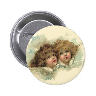 Vintage Easter, Angelic Angels Clouds Heaven 6 Cm Round Badge