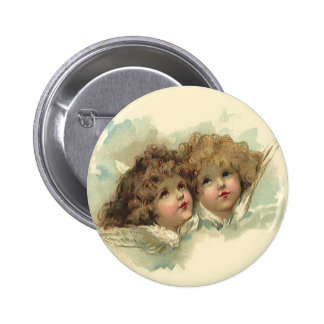 Vintage Easter, Angelic Angels Clouds Heaven 6 Cm Round Badge