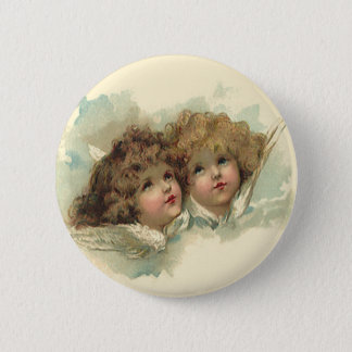 Vintage Easter, Angelic Angels Clouds in Heaven 6 Cm Round Badge