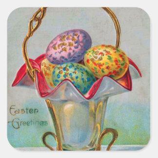 Vintage Easter Basket Colored Egg Square Sticker