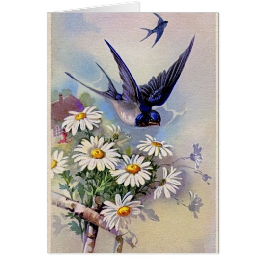 Vintage Easter Blue Swallows Greeting Card