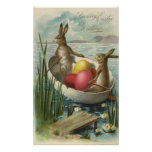 Vintage Easter Bunnies and Easter Eggs in a Boat