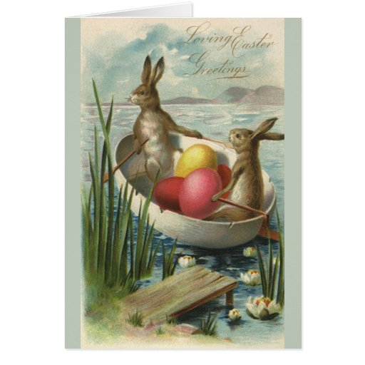 Vintage Easter Bunnies and Easter Eggs in a Boat Greeting Cards
