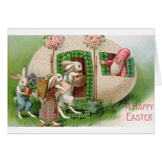 Vintage Easter Bunnies And Gnome Card