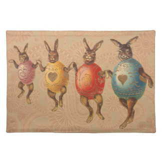 Vintage Easter Bunnies Dancing with Egg Costumes Placemat