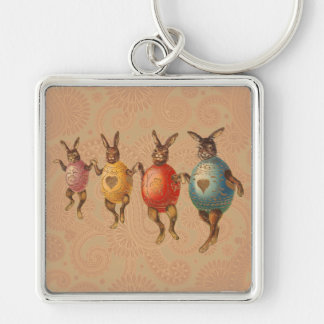 Vintage Easter Bunnies Dancing with Egg Costumes Silver-Colored Square Key Ring