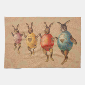 Vintage Easter Bunnies Dancing with Egg Costumes Tea Towel
