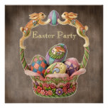 Vintage Easter Bunnies & Eggs Easter Party Personalized Invitation