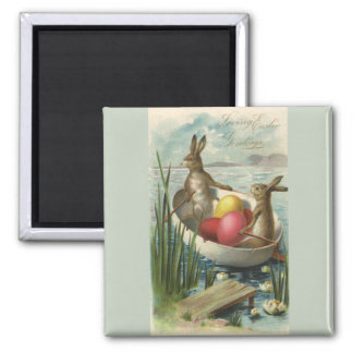Vintage Easter Bunnies in a Boat with Easter Eggs Magnet